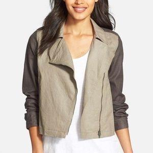 Eileen Fisher | 100% Organic Linen Moto Jacket Med